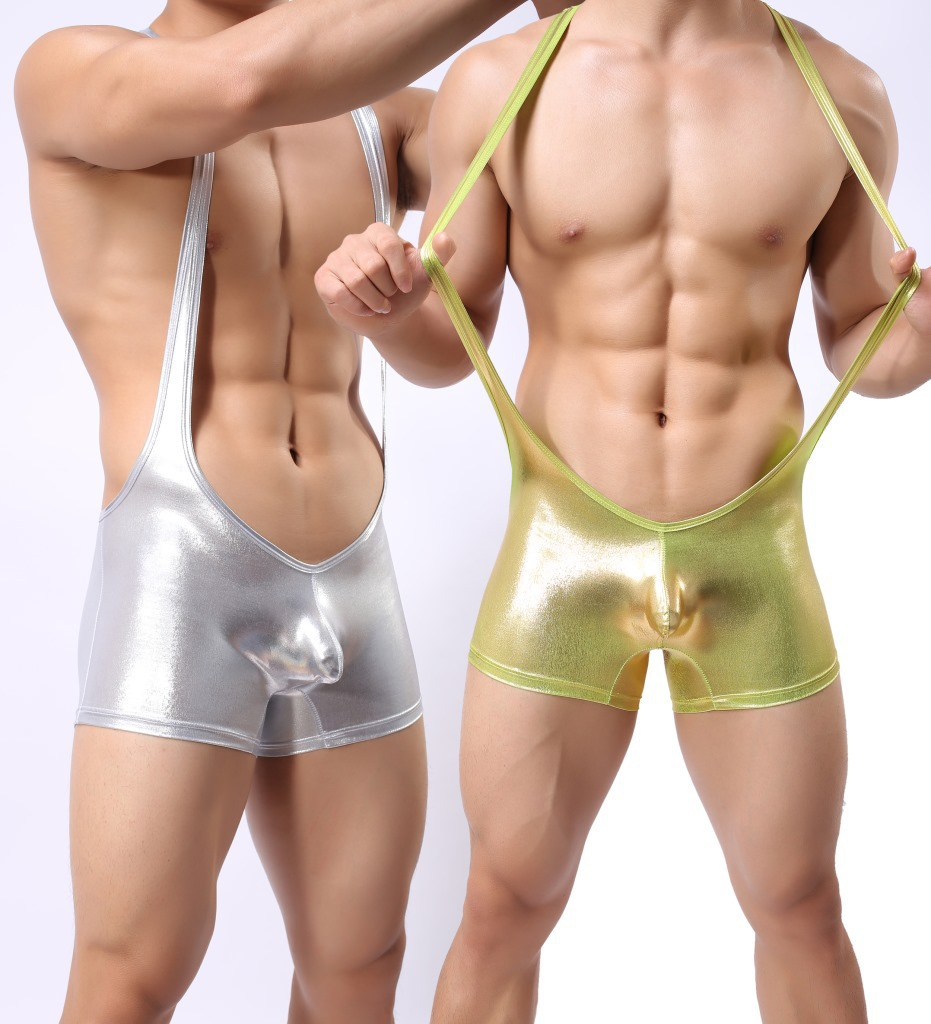 9074c06de4213 fashion male bodysuit shiny jumpsuits wrestling singlet shorts men underwear  boxers Stage costumes Sexy Products