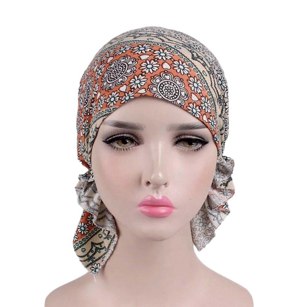 2019 Women Floral Print Beanie Turban Hat India Muslim Elastic Cotton Beanie Hat Turban Headwear Hat Head Scarf Wrap