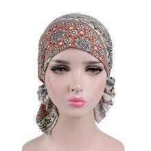 2019 Women Floral Print Beanie Turban Hat India Muslim Elastic Cotton Headwear Head Scarf Wrap