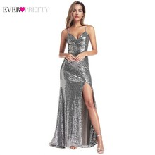 Sequined Evening Dresses Long Ever Pretty EP00934GY V-Neck Side Split Sexy Formal Gowns Little Mermaid Robe De Soiree
