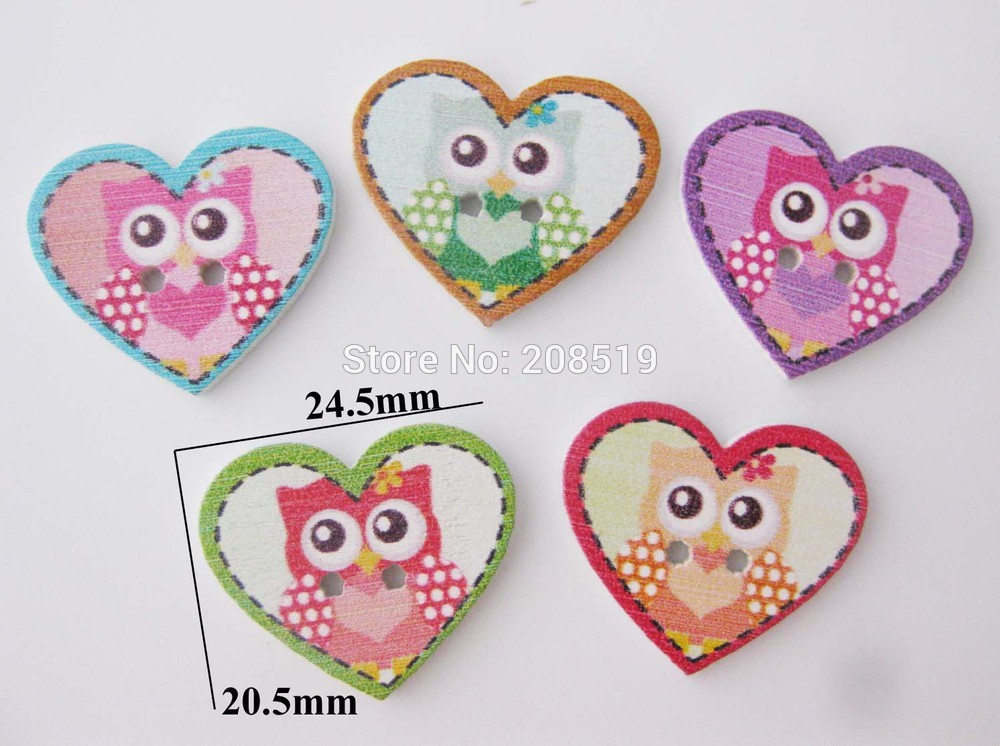 ୧ʕ ʔ୨Wbnswo moda Botones corazón forma 20mm * 25mm búho impreso ...