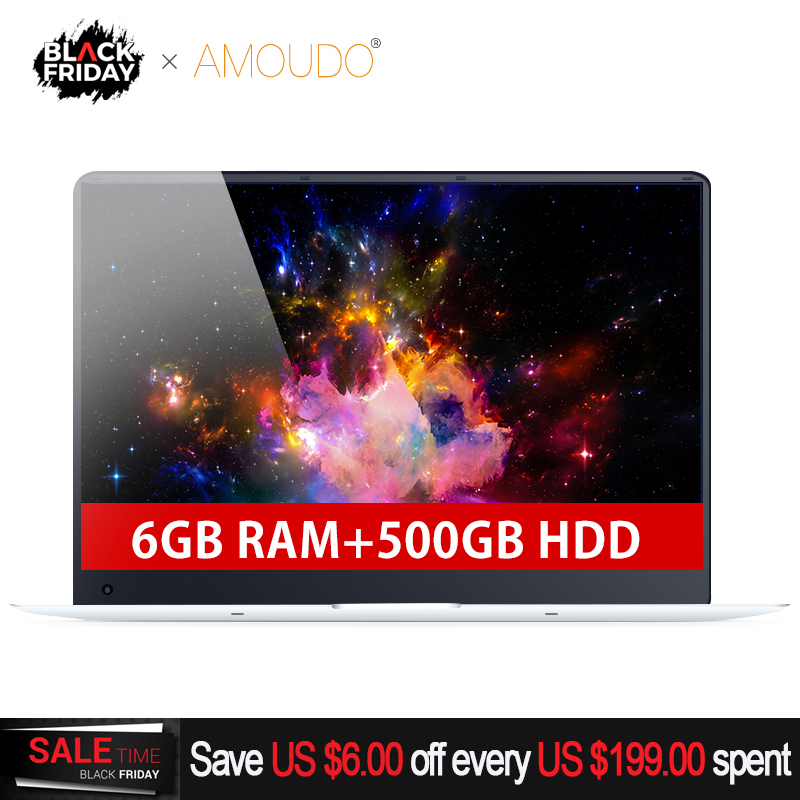 15.6 pouces 6 gb RAM + 500 gb HDD Intel Quad Core Course Rapide CPU Windows Système 10 1920*1080 p Full HD Wifi Bluetooth Pc Portable