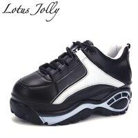 2018 하라주쿠 여성 캐주얼 신발 운동화 플랫폼 웨지 엘리베이터 캔버스 신발 머핀 두꺼운 밑창 플랫 zapatos mujer