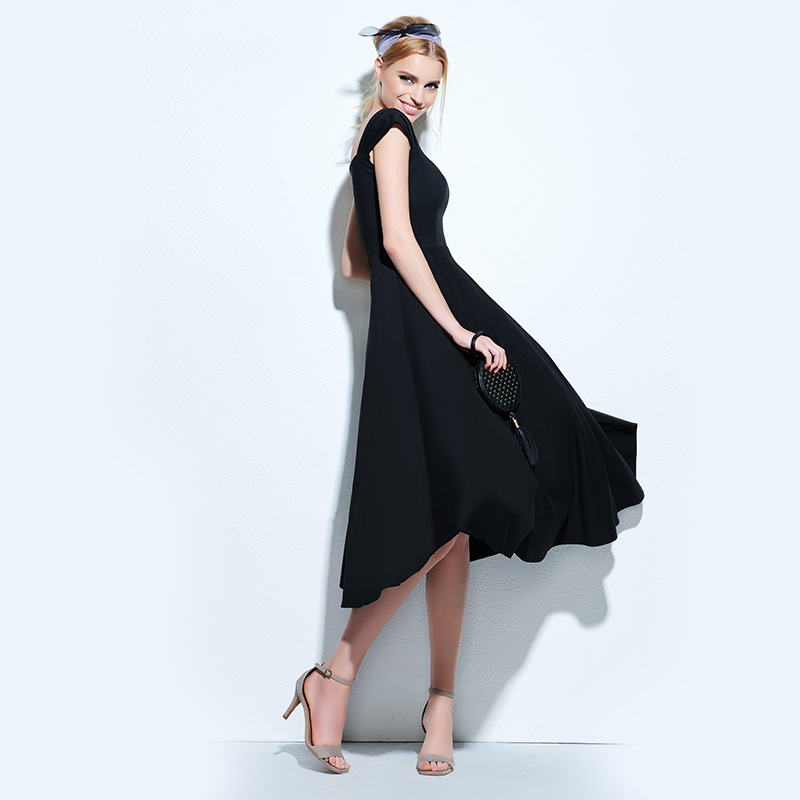 Wedtrend 2018 New Arrival Women's Dresses Retro V-Neck Causal Daily Sexy Party Solid 1950s Vestido Women's Clothings Swing Dress