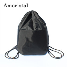 High Quality Nylon Drawstring Bag String Sack Women Men Travel Storage Package Teenagers Backpack Solid Color Dropshipping B141