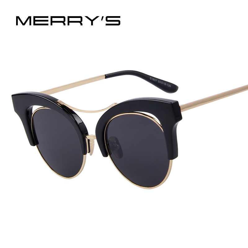 MERRY'S Fashion Women Cat Eye Sunglasses Round Frame False Eyebrows Sunglasses Oculos de sol UV400