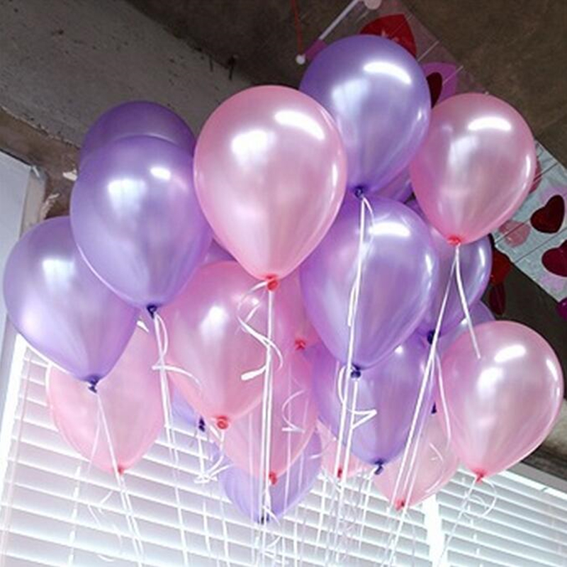 10pcs 10inch Pink Light Purple Pearl Latex Balloons Inflatable