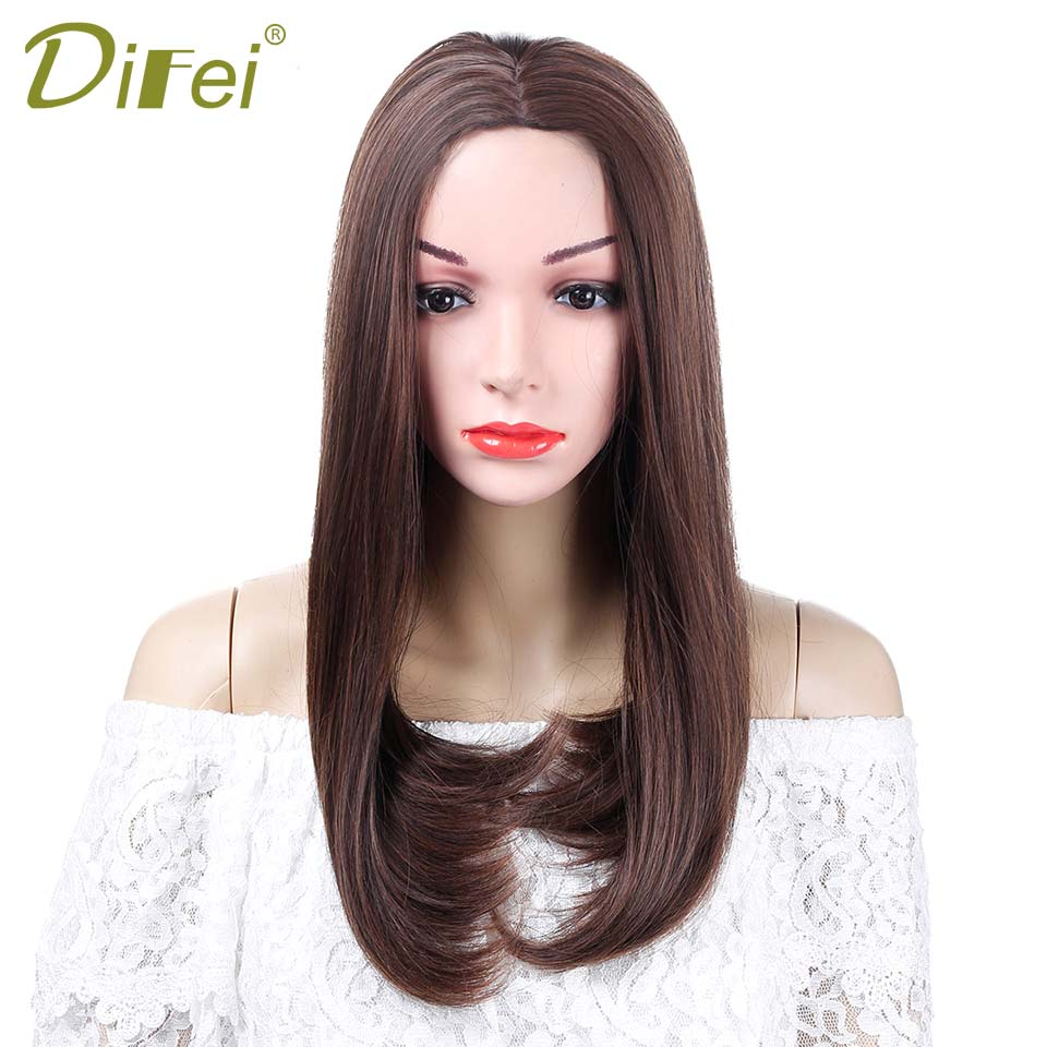 DIFEI Long Natural Bob Female Wig Heat Resistant Synthetic Hair Wigs For Women Long Wig With Hair Part