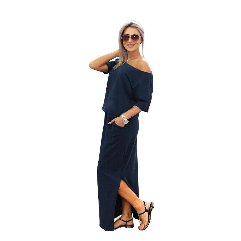 Elegant Summer Long Maxi Dress 2017 Casual Short Sleeve Solid Color Black Dress Loose Shirt Dress Pink Blue Navy Vestidos 11112