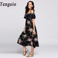 Tengeio Women Sexy Off Shoulder Fashion Summer Dresses Bohemian Strapless Floral Print Ruffled Beach Boho Maxi