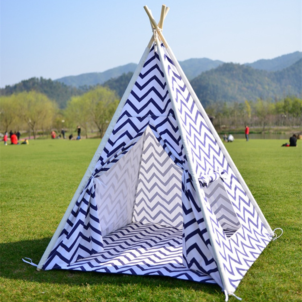 Wnnideo Puzzle Childrens Indian Tent Indoor Outdoor Dollhouse Cotton Baby Game Room Furniture Pine Tent House