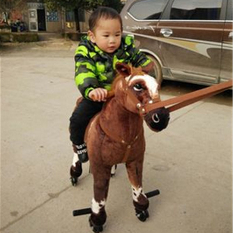 Fancytrader ride on horse plush toy with wheels stuffed animals moving horse doll for kids 80cm 31inch