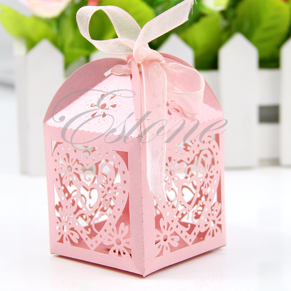 50pcs/pack Lot New Cut Love Heart Laser Gift Candy Boxes Wedding ...