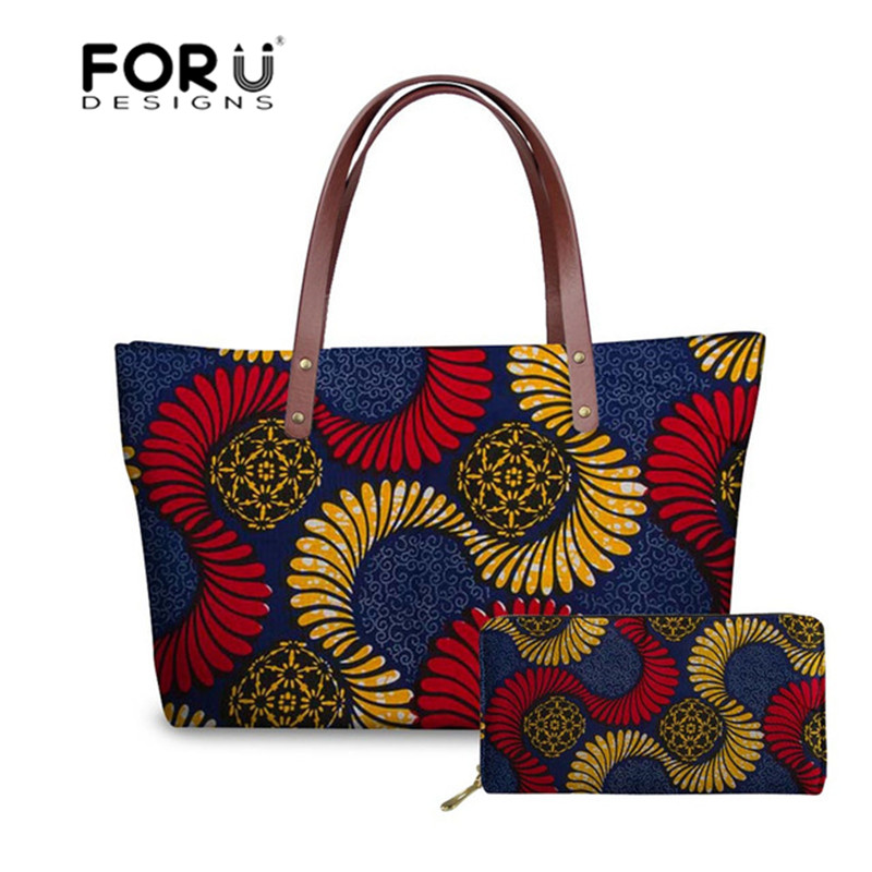 FORUDESIGNS Vintage African Printing Women Handbag Casual Tote Large Shoulder Bag For Female Designer Leather Purse Party Bags