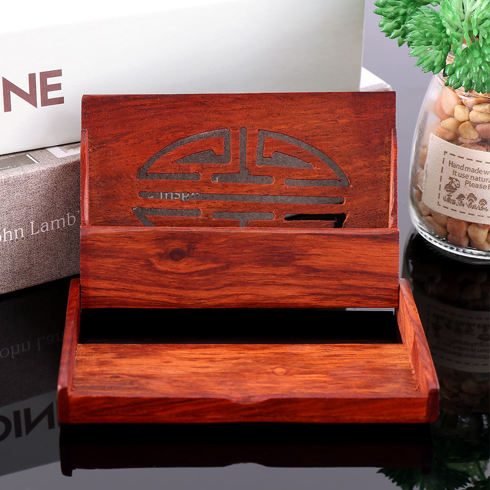 Creative Practical Red Wooden Name Card Business Card Holder Handmade Box Storage Id Credit Case High Quality