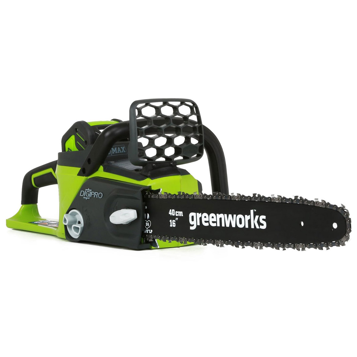 Saw chain rechargeable GreenWorks GD40CS40 40V (blade length 400mm, battery 2 A. h., automatic lubrication)