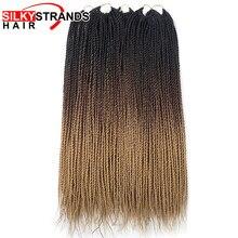 Silky Strands Ombre Senegalese Twist Hair niskotemperaturowe włosy syntetyczne do warkoczy szydełkowe włosy rozszerzenia dla czarnych białych kobiet