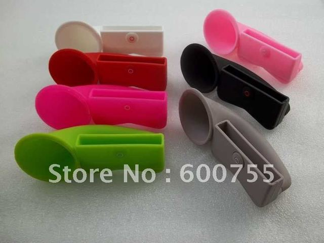 200 pcs Cute Portable Silicone Horn Stand Amplifier Speaker For iPhone 4 4S 4G