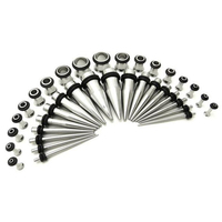 5 Colors Stainless Steel Ear Stretching Taper and Tunnel Starter Kit Ear Plug Gauges Body Jewelry 40 Piece Set 14G-000G Gauge