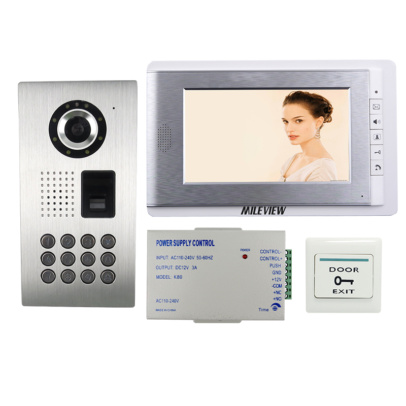 FREE SHIPPING NEW Fingerprint Code Keypad Unlock 7 Color Screen Video Door Phone Intercom System + Full Metal Outdoor Camera