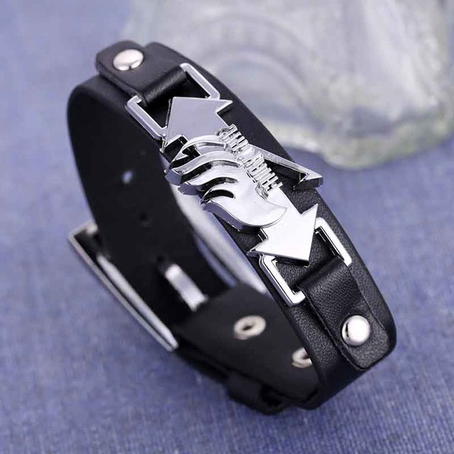 Fairy Tail logo black leather bracelets