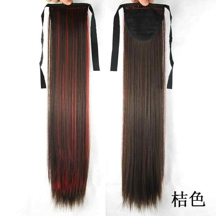 Soowee 55 см Длинные розовые синие прямые пряди на шнурке конский хвост высокотемпературное волокно синтетические волосы для наращивания хвост пони