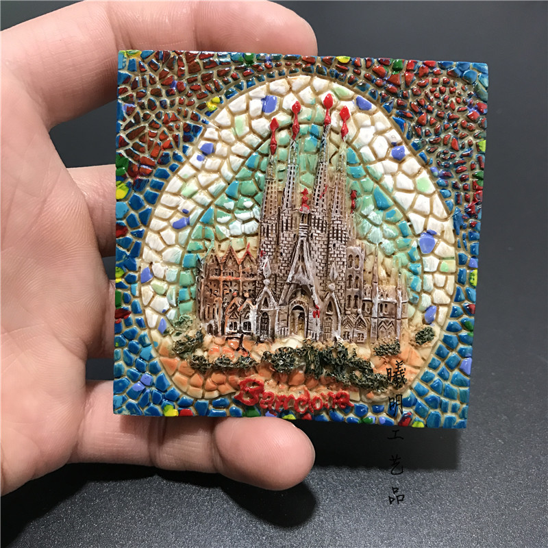 Barcelona Mosaic Style 3D Resin Refrigerator Fridge Magnets Home Kitchen Decor