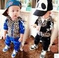 Nova crianças roupas bonito terno + calças 2 pcs padrão de leopardo primavera outono roupas Velure terno 4S / lot