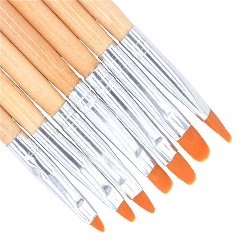 7pcs/sets Nail Art Pen Brushes Sets Wooden Handle Cone Flat Head Shaped Nail Tool Painted Pens Brushes Light therapy Pen Kit