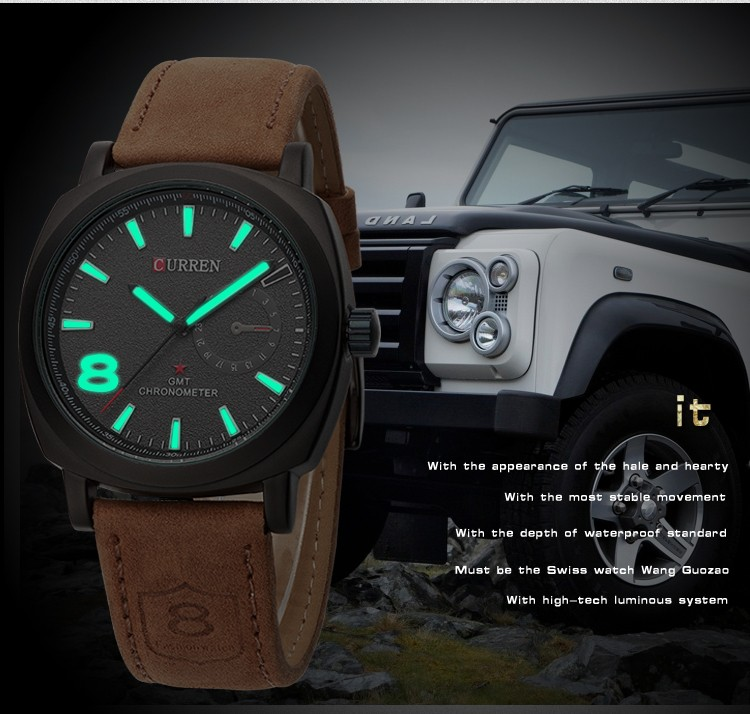 CURREN Original Brand Men Watch Luxury Leather Strap Quartz Watch Waterproof Clock 8139 16
