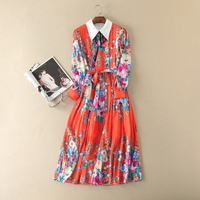High Street Pretty Pleated Dress Women Summer Autumn 2017 Long Sleeve Bow Buttons Decorated Floral Print