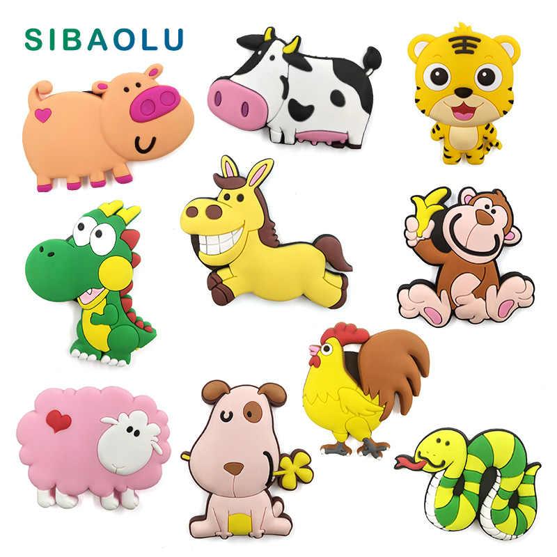 Bonito dos desenhos animados do zodíaco chinês animal silicone geladeira ímã lembrança geladeira geladeiras magnético crianças decoração para casa brinquedo
