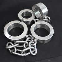 3.5-4.5kg Heavy 4cm High Stainless Steel Bondage Shackles+Handcuffs Foot Hand Cuffs Metal Bondage Restraints Adult Sex Toys G22