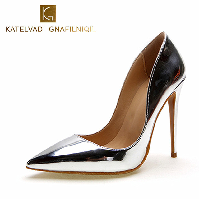 Брендовая обувь 12 см Высокие каблуки Серебристая Свадебная обувь Для женщин Насосы Лакированная кожа Модная женская свадебная обувь пикантные туфли-лодочки k-058