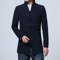 2018 Pure Color Men's Long Sleeve Jackets China Style Male Top Jacket Black Dark Blue Coats Men Size S M L XL 2XL 3XL