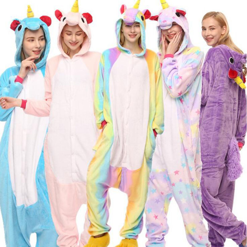 8f7c704ad Unicorn Onesie Pajamas Women Men Adult Overalls Animal Costume Party Suit  Fashion Blue Purple Pink Rainbow