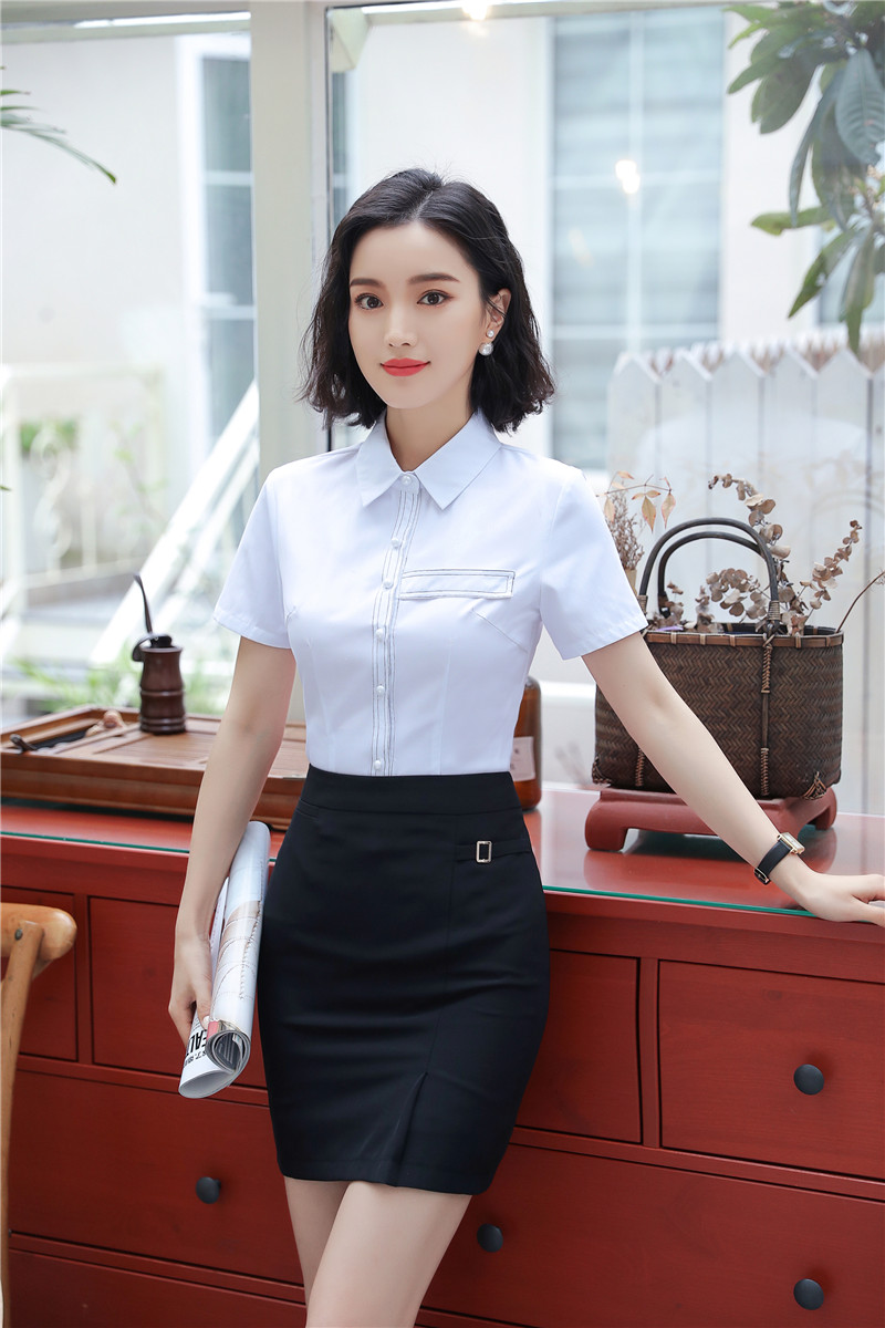 Elegant White New Styles 2018 Summer 2 Pieces With Tops And Skirt For Women Office Wear Skirt Suits Plus Size