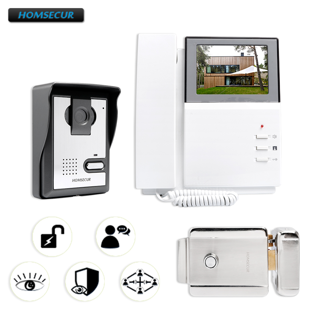 HOMSECUR 4 3 Video Door Entry Phone Call System Electric Lock Supported for House Flat 1V1