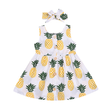 Kids Baby Girls Clothes Pineapple Print Sleeveless Dress with Headband 2pcs Suits Princess Party Birthday Beach Clothing  D25-40 недорого