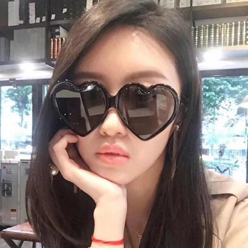 ab64fdf1ae6 Oversize Heart Sunglasses Women Brand Designer Cat Eye Sun Glasses Retro  Love Heart Shaped Glasses Ladies