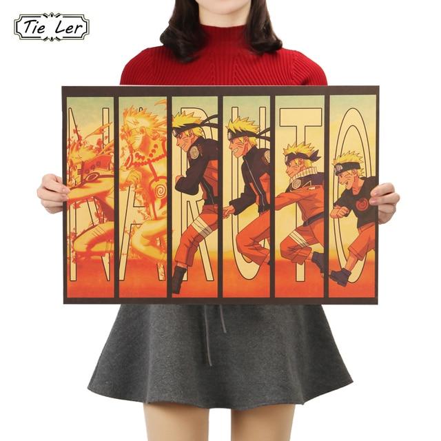 TIE LER Naruto Vintage Kraft Paper Classic Nostalgia Anime Poster Home Decor Wall Sticker 50.5X35cm