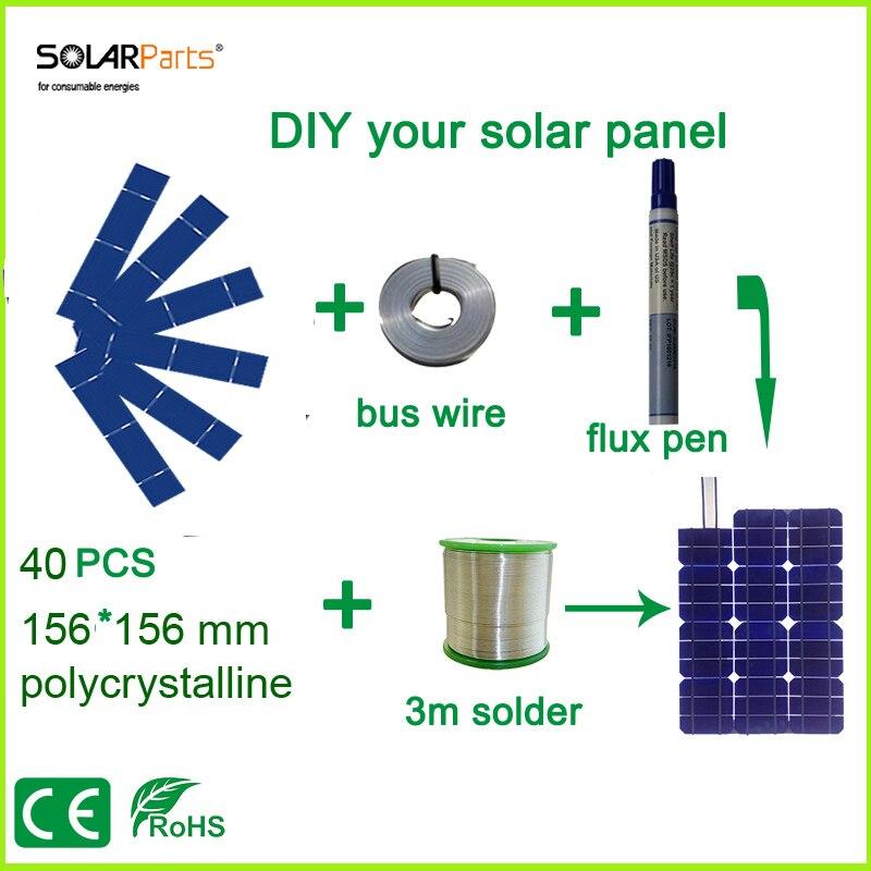 Prix pour Solarparts diy panneau solaire kits avec 156*31.2mm polycristallin cellule solaire utilisation flux stylo + tab fil + bus fil pour 25 w panneau solaire.