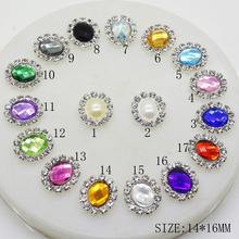 10pcs/lot 14*16mm Oval Diamond Button Mix Color Artificial Crystal for Wedding Invitation Cards Hair Ornament Decoration