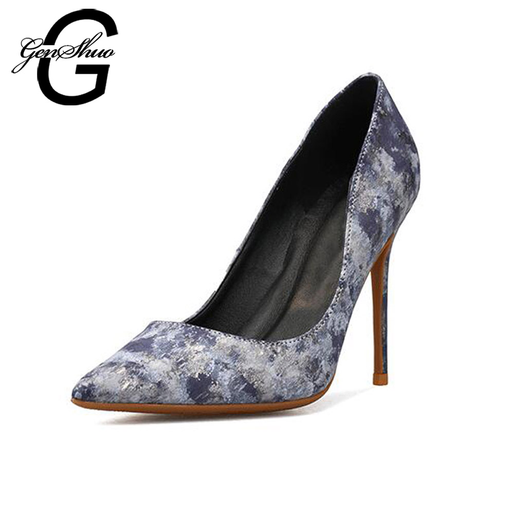 GENSHUO Shoes Woman PU Leather Heels Women Pumps Pointed Toe Stiletto Ladies Shoes Prom Heels Women Sexy Party Wedding ShoesGENSHUO Shoes Woman PU Leather Heels Women Pumps Pointed Toe Stiletto Ladies Shoes Prom Heels Women Sexy Party Wedding Shoes