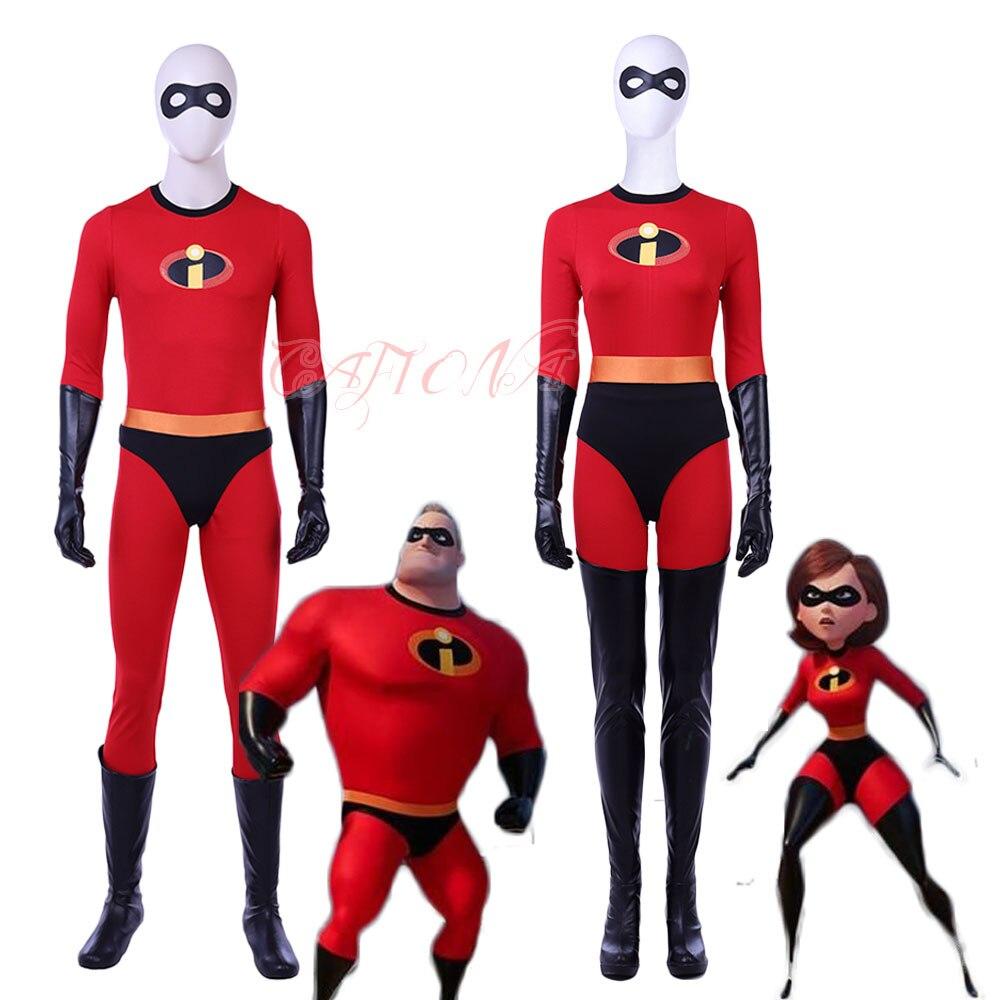 Cafiona Newest Helen Parr The Incredibles Bob Parr Elastigirl Cosplay Costume Sexy Jumpsuits Set Halloween