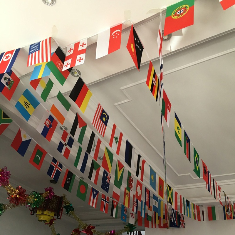 Football Garden Party Bar Club 32 flags National Flag Country Team Polyester String Flags