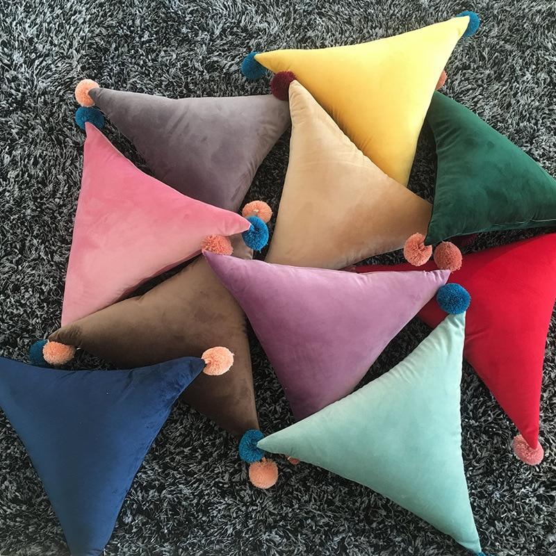 Creative Ins Velvet Cushion With Yarn Balls Pillows Modern Soft Velvet Rectangle Pillow Sofa Car Solid Color Lumbar Home Decor