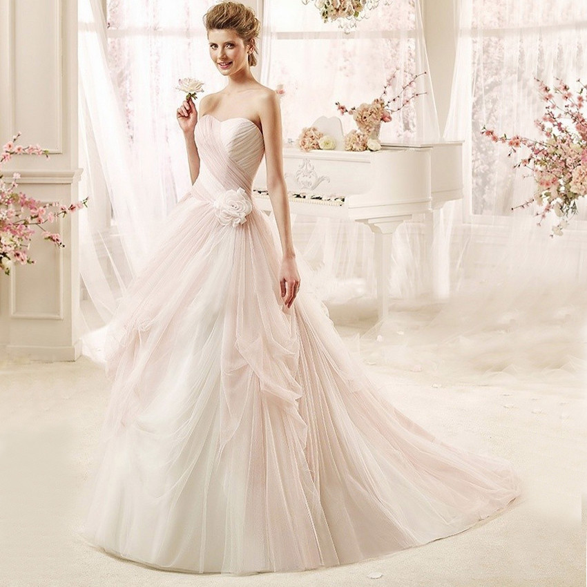 Pink And White Wedding Gowns: 2016 A Line Court Train Sweetheart Backless Sashes Wedding
