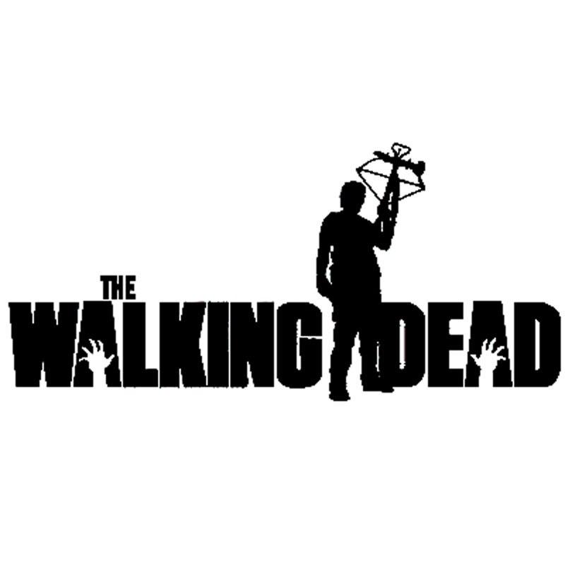 15.5cm*7.2cm Cartoon THE WALKING DEAD Daryl With Crossbow Decal Car Sticker Black/Silver Vinyl S8-1064 day of the dead girl skull head vinyl wall decal sticker