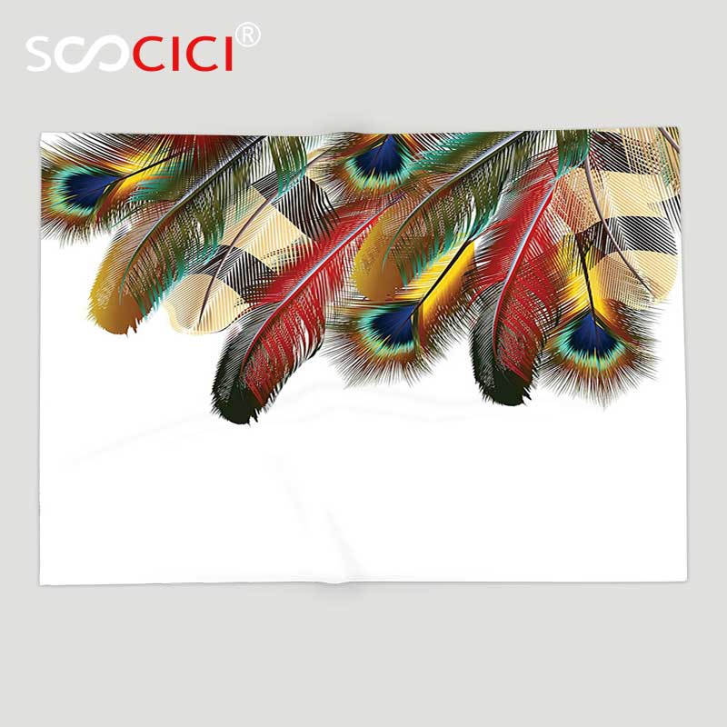 Power Source Supply Custom Soft Fleece Throw Blanket Feather House Decor Mystical Esoteric Peacock Feathers Deep Universal Link Icons Boho Theme To Produce An Effect Toward Clear Vision